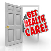 Get Health Care Insurance Coverage Open Door — Stock Photo
