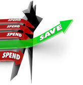 Save Vs Spend Arrow Rising Saving Money Future Investment — Stock Photo