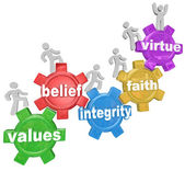 Gears Going Up Values Belief Integrity Faith Virtue — Stock Photo