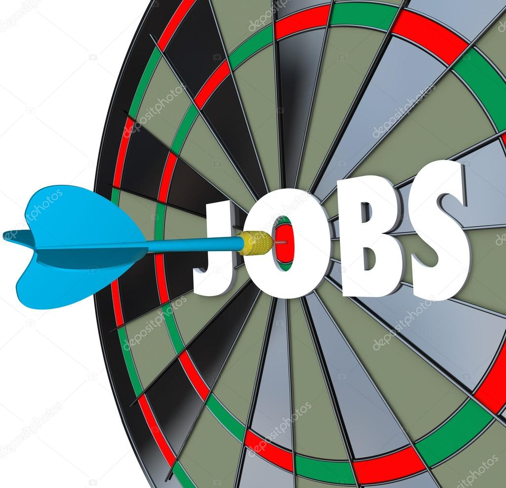 jobs career dartboard dart successful employment stock photo a dartboard word jobs and a dart in the bullseye to illustrate succeeding in a job search and landing work after searching in classifieds applying and