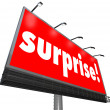 Surprise Red Billboard Banner Advertisement Shocking Discovery — Foto de stock #35630993