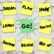 Stock Photo: Go Sticky Note Diagram Background Dream PlPrepare for Goal