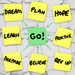 Go Sticky Note Diagram Background Dream Plan Prepare for Goal — Stock Photo