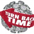 Turn Back Time Arrow Clock Sphere — Stock Photo