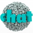 Chat Word Letter Ball Sphere Talking Discussion — Zdjęcie stockowe