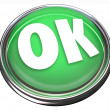OK Green Round Button Okay Approval Acceptance — 图库照片