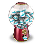 Random Chance Luck Gumball Machine Dispenser — Stock Photo
