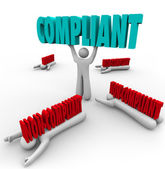 Compliant Vs Non-Compliance One Person Follows Rules — Stock Photo