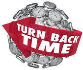 Turn Back Time Arrow Clock Sphere — Stockfoto