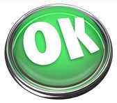 OK Green Round Button Okay Approval Acceptance — Stock Photo