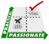 Passionate Vs Practical Choice Matrix Best Option — Stock Photo