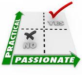 Passionate Vs Practical Choice Matrix Best Option — Stock Photo