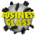 Business Class Briefcases Around World First Class Travel Flight — Stock Photo