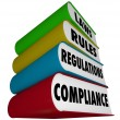 Stock Photo: Compliance Rules Laws Regulations Stack of Books Manuals