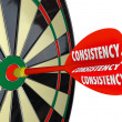 Consistency Dependable Reliable Perfect Score Dart Board — Stock Photo #39070921