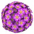 Stock Photo: Flower Ball Pink Floral Sphere Pattern Background