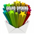Grand Opening Announcement Letter Envelope Flyer — Stock Photo