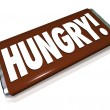 Hungry Word Chocolate Candy Bar Wrapper Hunger — Stock Photo