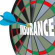 Insurance Dart Board Word Choosing Best Policy Plan Coverage — Stock Photo #39071137