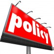 Policy Word Billboard Sign Following Rules Compiance Guidelines — Stock Photo