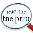 Read the Fine Print Magnifying Glass Words — Stock Photo #39071239