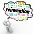 Reinvention Word Thought Cloud Thinker Planning Change — Stock Photo