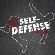 Self Defense Words Chalk Outline Body Defending Yourself Attack — Stock Photo #39071345