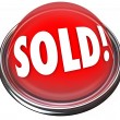 Stock Photo: Sold Red Button Light Final Deal Auction Bid