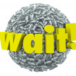 Wait Word Exclamation Point Mark Sphere Delay Stop — Stockfoto #39071531