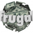 Frugal Money Ball Cheap Saving Cash Reduce Spending — Stock Photo #39071771