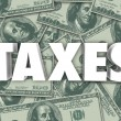 Stock Photo: Taxes Word Hundred Dollar Bills Money Background