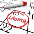Launch Word Circled Calendar Debut New Product — Stock Photo #39072061