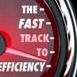 Stock Photo: Fast Track to Efficiency Speedometer Effective Productive Improv