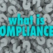 Stock Photo: What is Compliance Words Question Mark Background