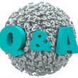 Q and A Question Mark Sphere Ask for Answers Support Help — Foto Stock