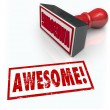 Stock Photo: Awesome Word Rubber Stamp 3D Rating Review Feedback