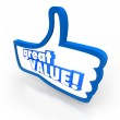Great Value Blue Thumbs Up Symbol Review Recommendation — Stock Photo