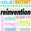 Reinvention Word Background Rebuild Redo Restart — Stock Photo #39072659