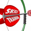 Stock Photo: Skill Training Words Bow Arrow Target Learn Expertise