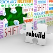 Stock Photo: Rebuild Word Puzzle Piece Wall Reinvent New Start