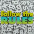 Stock Photo: Follow Rules Letter Background 3D Regulations Guidelines