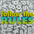 Follow Rules Letter Background 3D Regulations Guidelines — Stock Photo #39073123