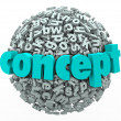 Concept Word Letter Ball Sphere Idea Development — Stockfoto