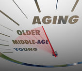 Aging Speedometer Fast Advancing Age Young to Old — Stock Photo
