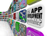 Is App Development Profitable Mobile Application Programming — Stock Photo