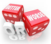 Better Worse Two Red Dice Words Improve Chance — Stock Photo