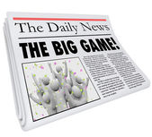 The Big Game Newspaper Headline Sports News Update — Stock Photo