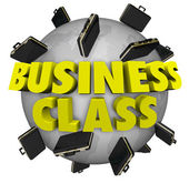 Business Class Briefcases Around World First Class Travel Flight — Stock Photo