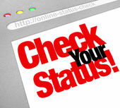 Check Your Status Online Web Site Update Position — Stock Photo