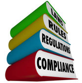 Compliance Rules Laws Regulations Stack of Books Manuals — Stock Photo